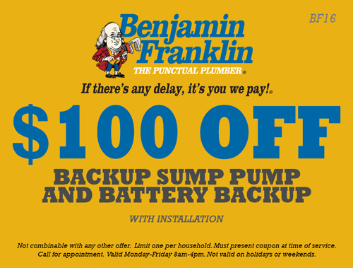 $100 Off Backup Sump Pump and Battery Backup