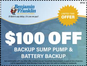 $100 Off Backup Sump Pump and Battery Backup
