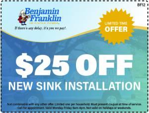 $25 Off New Sink Installation